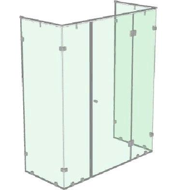 Большая душевая кабинка с распашной дверью и перегородкой