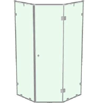 Душевая кабинка с распашной дверью на 135 градусов