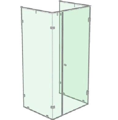 Душевая стеклянная кабинка с распашной дверью на 90 градусов