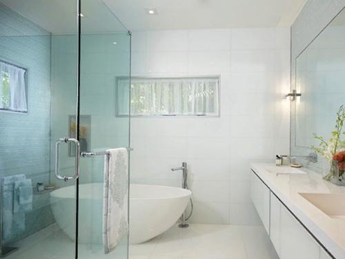 Дизайн ванной комнаты со стеклянной перегородкой