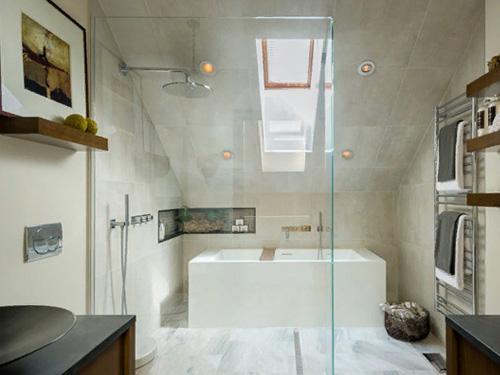 Фото стильной и красивой душевой из стекла и акриловой ванны
