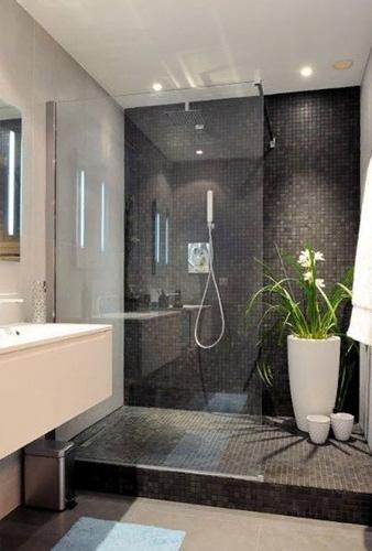 Стеклянная перегородка разделяет ванную комнату на зоны