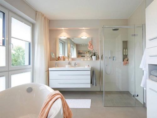 Душевой уголок в современном интерьере ванны