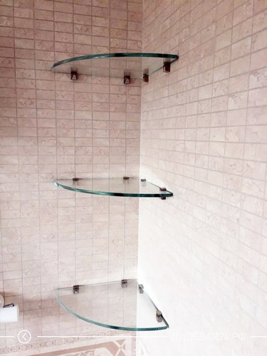 Изготовление стеклянных угловых полочек в ванную комнату