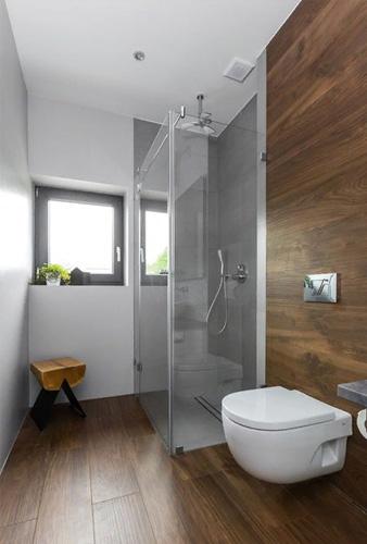 Стеклянный уголок в ванную комнату частного дома