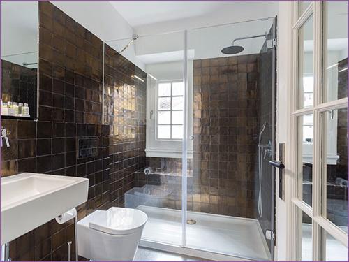 Красивая коричневая ванная комната с душем и унитазом