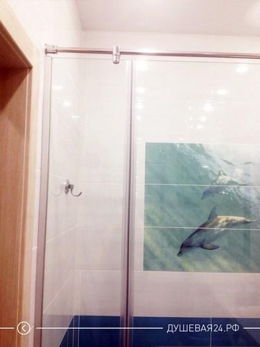 Ванная комната с перегородкой и плиткой с дельфинами