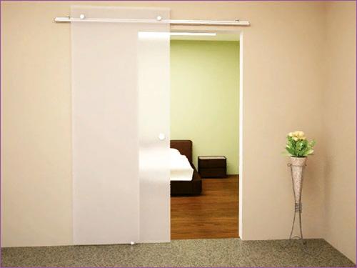 Межкомнатная раздвижная дверь с матовым стеклом